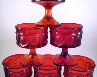 6 Vtg NORITAKE Stem Ware Red Glass SPOTLIGHT Sherbet Dessert Champagne