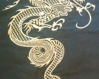 Pair of Dragon Shams Embroidered in Goldwork