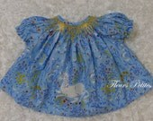 15 inch Doll Smocked Bishop featuring Heather Ross Far Far Away Unicorn in Blue  Ready to Ship