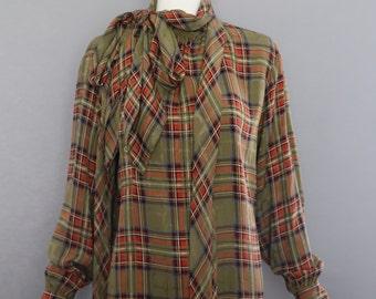 70s YSL Yves Saint Laurent sage green plaid silk pussy bow lady like tie BLOUSE france vintage 40 8-10 vintage 1970s