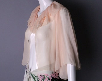 1930s sheer pink PIN UP lingerie fluttery butterfly sleeve bolero blouse TOP boudoir romantic vintage