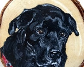 Hand Painted Pet Portrait  on Wood Slice - Mini Picture or Ornament