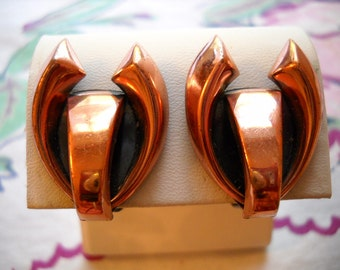 Stunning Vintage Estate Clip Earrings Signed Renoir Copper Oxidized Black FREE SHIPPING