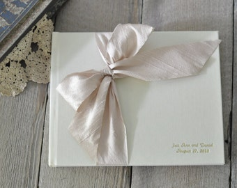 Album - Wedding Guestbook Guestbook - Silk Dupioni Bow by Claire Magnolia