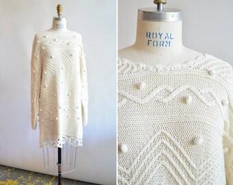 Vintage 1990s TEXTURED cotton sweater dress