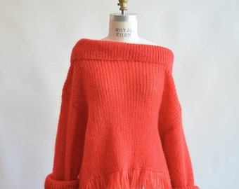 30% off storewide /// Vintage 1990s FRINGED mohair sweater