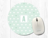 Mouse Pad - Round Mouse Pad - Heart Mouse Pad - Cute Mouse Pad - Mint Green Mouse Pad - Round Mousepad Cute Mousepad Office Desk Accessories