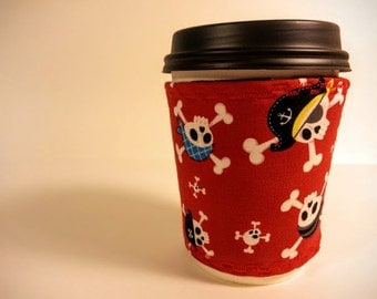 Cup cozy: pirates, reversible