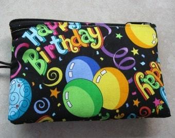 happy birthday padded makeup jewelry bag