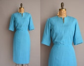 50s blue silk Ann Murray vintage wiggle dress / vintage 1950s dress