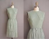 50s olive green pinstripe cotton vintage wiggle dress / vintage 1950s dress