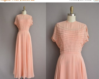 25% off SHOP SALE... 40s peach pink chiffon peach full length vintage dress / vintage 1940s dress