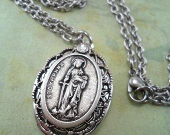 St. Dymphna Locket Necklace, Spectacular Charm and Filigree Setting, Patron Saint Catholic Jewelry, Baptism, Confirmation Gift