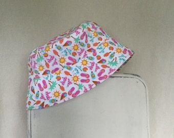 Sun Hat with Straps, Infant Sun Hat, Baby Sun Hat, Infant Bucket Hat, New Born Sun Hat, Beach Hat, Flip Flop Hat, Pink Hat, Girls Sun Hat