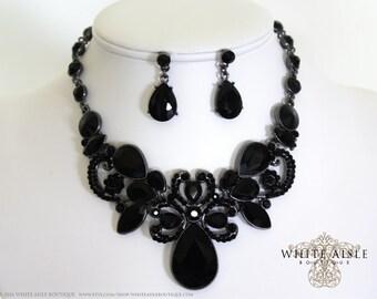 Black Bridal Jewelry Set, Wedding Jewelry Set, Vintage Inspired Necklace, Statement Necklace, Chunky Necklace, Bridal Jewelry