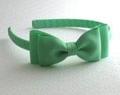 Mint Green Bow Headband ~ Girls Headband ~ Flower Girl Headband ~ Hard Plastic Headband ~ Toddler Headband