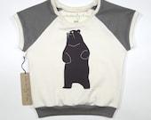 Be the Bear | Organic Kids Cap Sleeve Raglan | Toddler Short Sleeve Shirt | Babies Natural Cotton Shirt | Screenprinted | Brown | Hipster