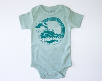 Pacific Explorer Organic Baby Bodysuit | Fair Trade | Screen Printed Clothing | Unisex | Gender Neutral | Hipster | Pacific Coast Highway