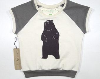 Be the Bear | Organic Kids Cap Sleeve Raglan | Toddler Short Sleeve Shirt | Babies Natural Cotton Shirt | Hand Printed | Brown | Hipster