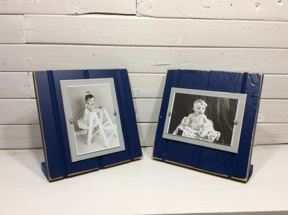 navy blue and grey table top picture frame holds one 4 x 6 photo dallas cowboys colors from. Black Bedroom Furniture Sets. Home Design Ideas
