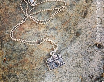 A Moment in Time Camera Photography Fine Silver Pendant with Sterling Silver Chain