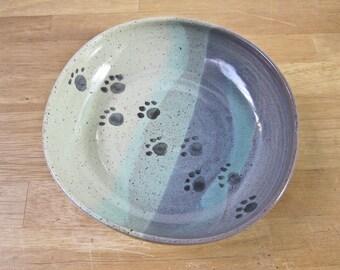Pet Feeding Dish - Stoneware Feeding Dish - Shallow Bowl -  Blue Green Ceramic Pottery Clay Handmade Cat Dog