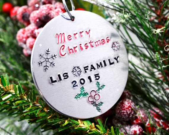 Our Family Personalize Christmas Ornament, Round Christmas Ornament, Hand Stamped Metal, Perosnalized Holiday Decor