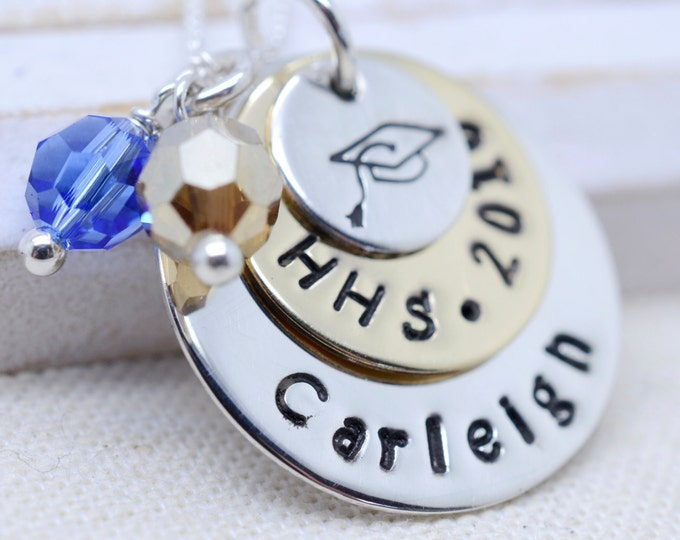 Personalized Graduation Present - Class of 2016 Graduate Necklace - High School College Tech - School Spirit Colored Crystals - Gift for Her