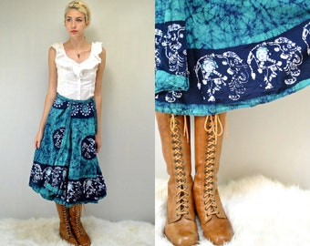 Elephant Batik Skirt  //  70s Wrap Skirt  //  THE GAIA