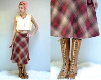 70s Plaid Skirt  //   Wool Midi Skirt  //  THE AILIS