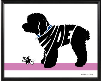 Personalized Toy Poodle Silhouette Print, Framed 8x10 Dog Name Art, Poodle Wall Art