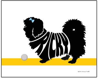 Personalized Pekingese Silhouette Print, Dog Name Art, Unique Dog Memorial Gift