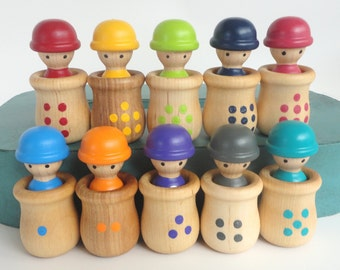 Wooden Toy - Number game, learning toy, educational - Men in Pots