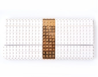 White clutch purse with real gold plated elements made with LEGO® bricks FREE SHIPPING purse handbag legobag trending fashion