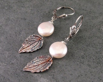 Silver mint leaf earrings with white coin pearls, handmade recycled fine silver earrings-OOAK