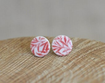 Porcelain Stud Earrings, Red Bamboo, Mrs Peterson Pottery