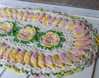 Vintage Doily Romantic Cottage Chic Hand Crochet Pink Yellow Roses Shabby Kitchen or Nursery Decor