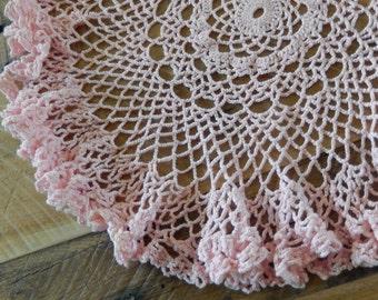 Pink Doily Vintage Crochet Romantic Cottage Shabby Home Decor