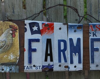 Farm Fresh Sign,License Plate decor,Wood Sign.Country Kitchen,Chicken Coop,Farm Sign,Chickens,Rustic Decor,Kitchen,Barn Sign,unique signs