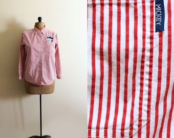vintage shirt disney micky mouse womens clothing red white striped button down blouse size small s