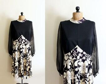 SALE vintage dress 60s 70s womens clothing black off white mod floral print flower power size l large