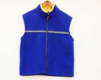 Vintage 90s Fleece Vest Kelly Sport Westcoast Wear Made in Canada Athletic Hiking Camping Tribal Hippie
