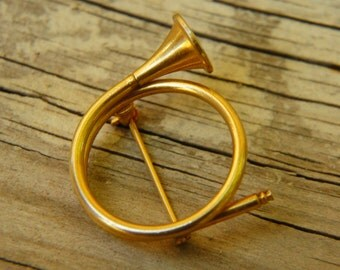Vintage 50s-60s French Horn Trumpet Brooch Costume Jewelry Retro Mid Century