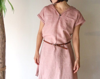 Sailor Collar Pink Linen Dress