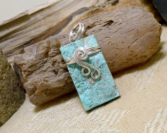Wire Wrapped Stone Silver Chrysocolla Necklace Pendant
