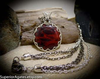 Red & Black Wire Wrapped Mary Ellen Jasper Pendant Necklace