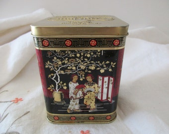 vintage DECORATIVE tea TIN with hinged lid - Murchie's, black, Chinese, Asian, made in England