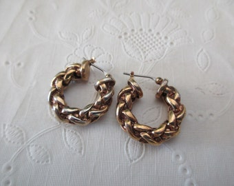 vintage Ralph Lauren gold chain EARRINGS - pierced, hoops