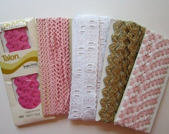 vintage rick rack and eyelet trim - pink, gold, and white - vintage trims, vintage notions