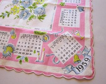 vintage 1959 calendar handkerchief - 1959 calendar hanky - pink calendar hanky as is